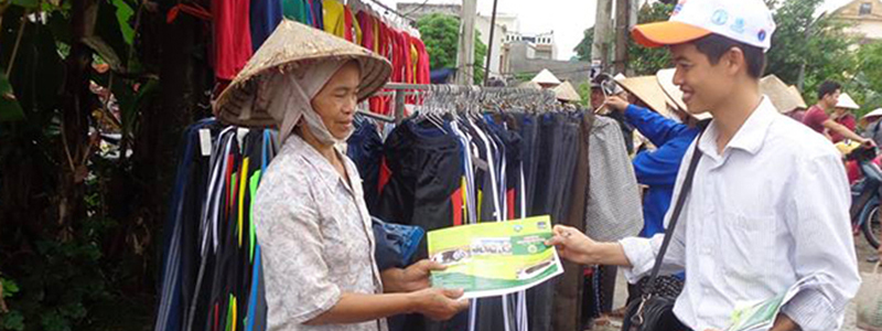 Hand out LCASP dissemination leaflets to people